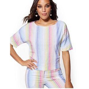 NWT NY & Co. Rainbow Linen Stripe Blouse Short Set